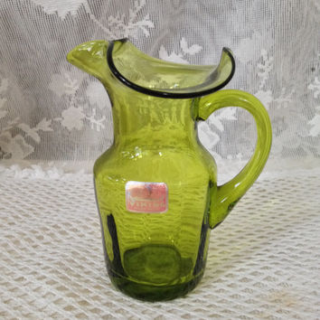 Viking Small Art Glass Pitcher Vase, Olive Green Glass Decor, Hand Blown Glass , Vintage 1960s, 70s Display Glass