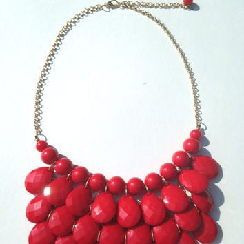 Red Bib Necklace, Statement Necklace, J Crew Inspired