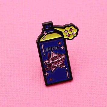 Glitter Hairspray Soft Enamel Pin // Rad Collection, 90's Vibes