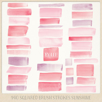 Watercolor clipart strokes squared (140 pc) purple, pink, rose. hand painted overlays for logo design blogs cards printables wall art etc
