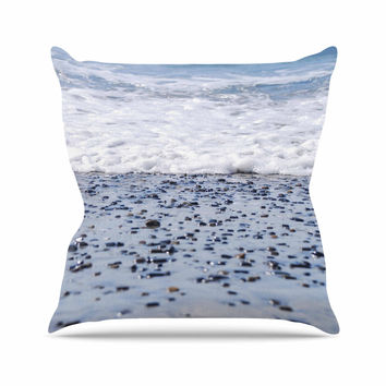 "Nick Nareshni ""Solana Beach Sand Stones"" White Gray Throw Pillow"