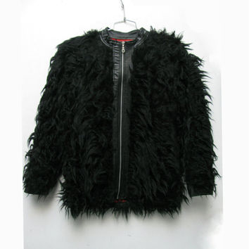 Black Faux Fur Jacket Vintage Mens Zip Front Shaggy Fun Fur Club Kid Rave Glam Coat Mns US Size Small Made In The USA