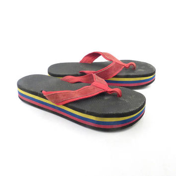 1980s Flip Flops Vintage Sandals Red Blue Yellow Black Stripe Foam 80s Eighties Thick