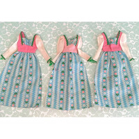 Vintage Barbie Sweet 16 Dresses lot of 3 1976 #9555 maxi peasant doll dress pink blue floral resell wholesale group clothes clothing toy