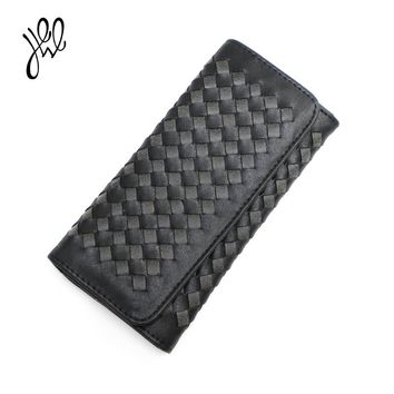 Ladies Leather Wallets 2017 New Long Knitting Womens Wallets And Purses Large Capacity Elegant Ladies Clutch Zipper&Hasp500820