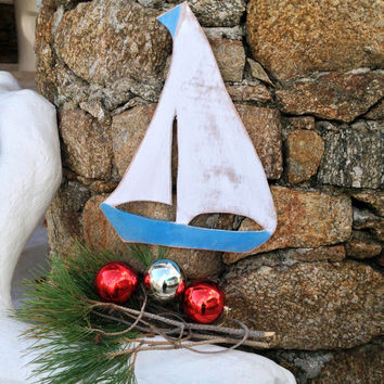Oversized blue Boat Art sign, Costal Indoor Outdoor Wood Sign, Beach Decor Holiday decor