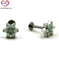 Showlove-1pcs 16G Flower Opal Gem Labret Monroe Lip Tragus Studs Piercing Free Shipping Body Jewelry