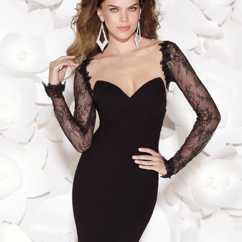Sexy Sheer Neck Mini Party Dresses See Through Sheath Lace Cocktail Gowns Illusion Back Little Black Dress