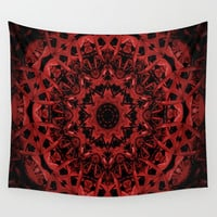 Red Leaf Pattern 5 Wall Tapestry by Gwendalyn Abrams