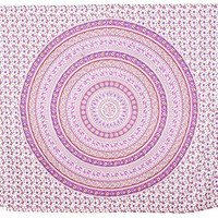 Large Pink Round Elephant Tapestry Mandala Bedspread Hippie Wall Decor Beach Throw Dorm Decor Room Divider, TP4018