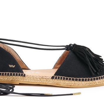 Sariera Canvas Espadrilles with Tassels - Black