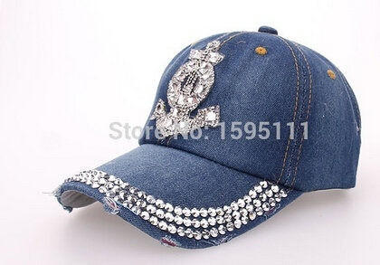 Fashion Men and Women Adjustable Baseball Cap Diamond Anchor Shape Jean  Denim Caps Sna 8488aa85fc5