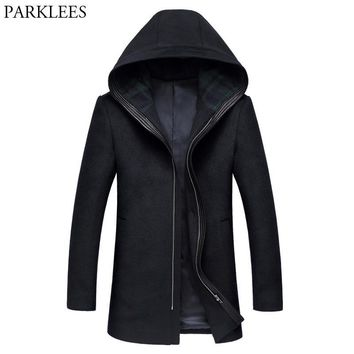 Long Hooded Trench Coat Men 2017 Winter Wool Men Overcoat Zipper Casual Male Pea Coat Windbreaker Slim Fit Woolen Mens Jackets