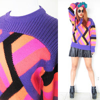 Vintage 80's wool color block rave club kid new wave purple violet pink neon color sweater