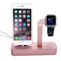 Iphone/iwatch Charger Stand, 2 in 1 Apple Charging Dock Cradle, Lecxci[rose Gold Charging Dock]iwatch and Iphone Charging Stand for Iwatch 38mm/42mm, Iphone 5/5s/6/6 Plus/6s/6s Plus(rose Gold)