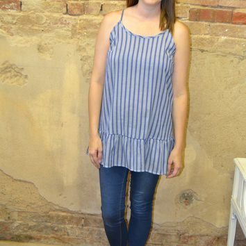 Right About You Striped Ruffle Top: Medium Denim
