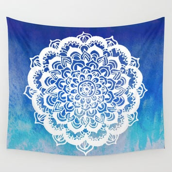 White Floral Medallion on Indigo & Turquoise Watercolor Wall Tapestry by Tangerine-Tane