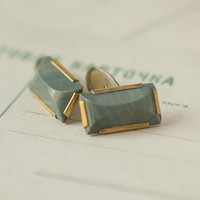 Green stone cuff links unisex mid century modern mens cufflinks rectangular gift him accessory