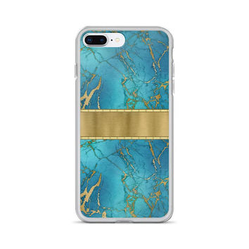 Turquoise Stone Gold iPhone Case - Gold Metallic Turquoise Blue Marble Phone Case - iPhone Case All Sizes - Blue Gold iPhone Case - Marble