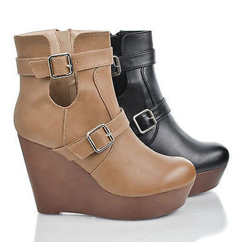 Osean3 Black Pu By Kayleen, Round Toe Buckled Cut Out Platform High Wedge Heel Ankle Bootie