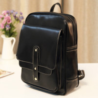 Cute Vintage Black Leather Backpack Travel Bag