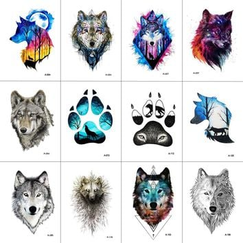 WYUEN 12 PCS/lot Wolf Temporary Tattoo Sticker for Women Men Fashion Body Art Adults Waterproof Hand Fake Tatoo 9.8X6cm W12-01