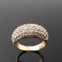 Repair or Repurpose Swarovski Ring Size 9 Gold Over Sterling Silver 925 Swan Mark Please Read