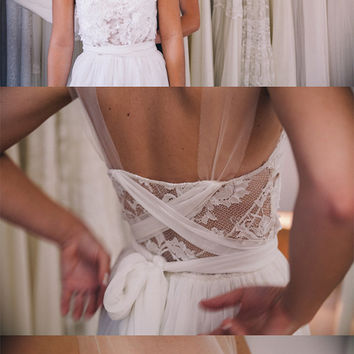 Stunning sheer neckline wedding dress with by Graceloveslace