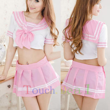 Sexy Pink Lingerie sailor School Girl lolita cosplay costumes dress uniform A165