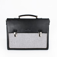 Black Leather-Grey Wool Briefcase