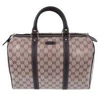 Gucci Brown Crystal GG Canvas & Leather Boston Bag | Overstock.com Shopping - The Best Deals on Designer Handbags