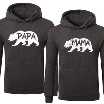 BOLD Bear Family Hoodie for Mama Bear & PAPA Bear Pullover Sweater-Charcoal-Price for 1