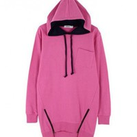 Drawstring Hooded Sweatshirt with Zip Vent