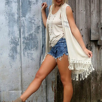 The Canterbury Taupe Floral Crochet Fringe Vest