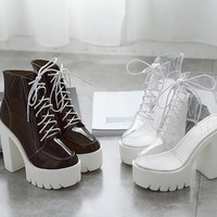 See Through Platform Ankle Boots