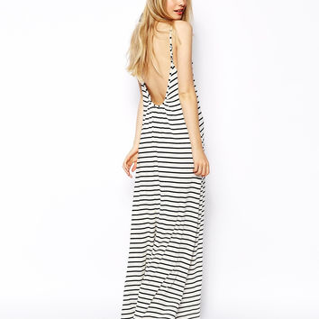 Black Spaghetti Strap Striped Maxi Dress