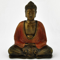 Dhyana Mudra Buddha Painted Resin Statue