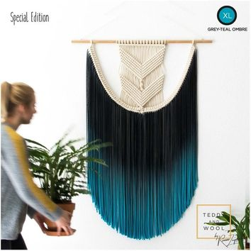"Large Macrame Wall Hanging - size S/M/L/XL - Macrame Curtains - Macrame Wall Art - Wall Tapestry - Dip-dye Tapestry - Home Decor - ""EVA"""