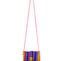 Triangle Patterned Multicolor Clutch w/ Shoulder Strap