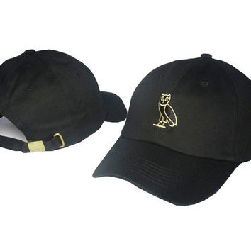 Gold Owl Embroidered Black Baseball Hat Hat