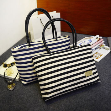 Summer Navy Casual One Shoulder Canvas Bags Tote Bag [6581837255]