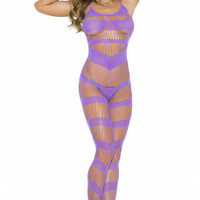 EM-1658 Strappy purple bodystocking