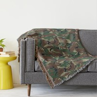 British 95 Forest Green Camouflage Throw Blanket