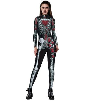New Halloween Party Skinny Rose and Skeleton 3D Print  Long Sleeve TurtleNeck Cosplay Costume
