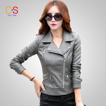 Women Leather Coat With Studded notch lapels Long Sleeve Autumn Winter Lady Faux Leather Jacket Outerwears KL6602
