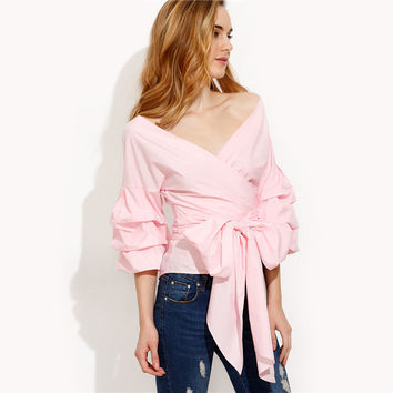 Pink Pleated Bow Tie Waist Shirt