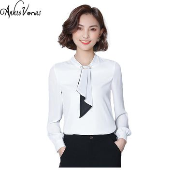 Women Chiffon Blouse Long Sleeve Stand Collar Bow Shirts Womens Tops And Blouses Camisa Mujer Kimonos White Tops For Work Female