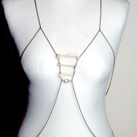 Beautiful taxidermy bronze rib look chainmaille body chain body armour jewelry with real animal bones