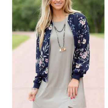 Womens Blue Floral Print Jacket Baseball Coat +Gift Necklace