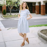 Doyle Stripe Dress - Green | Called To Surf